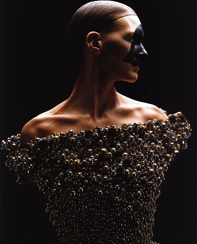 Model in   the    tinkling, bell-covered dress from Viktor & Rolf Haute Couture 2000-01     photographed by Wendelien Daan   for       Vogue Paris September 2000