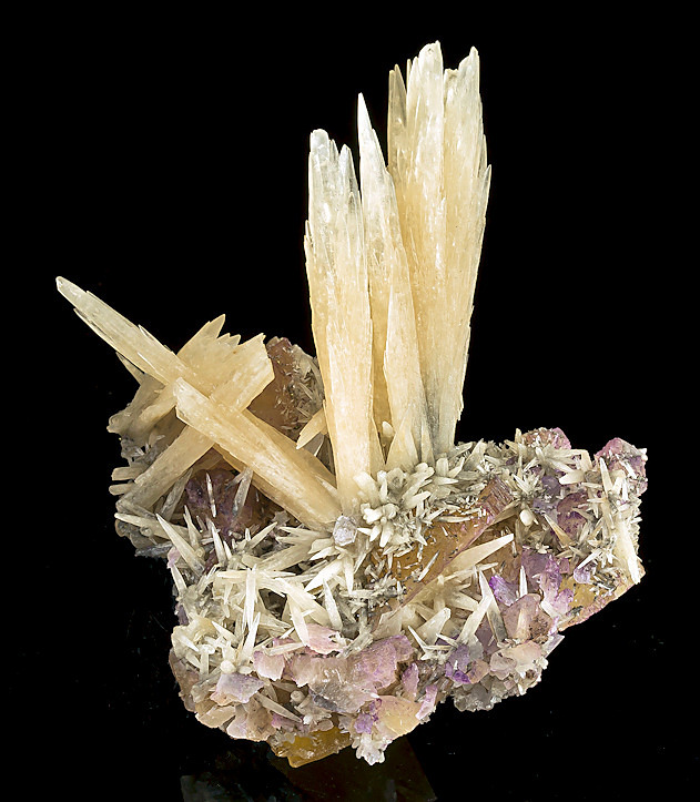 fuckyeahmineralogy: Calcite on Fluorite; Annabel Lee Mine, Hardin County, Illinois