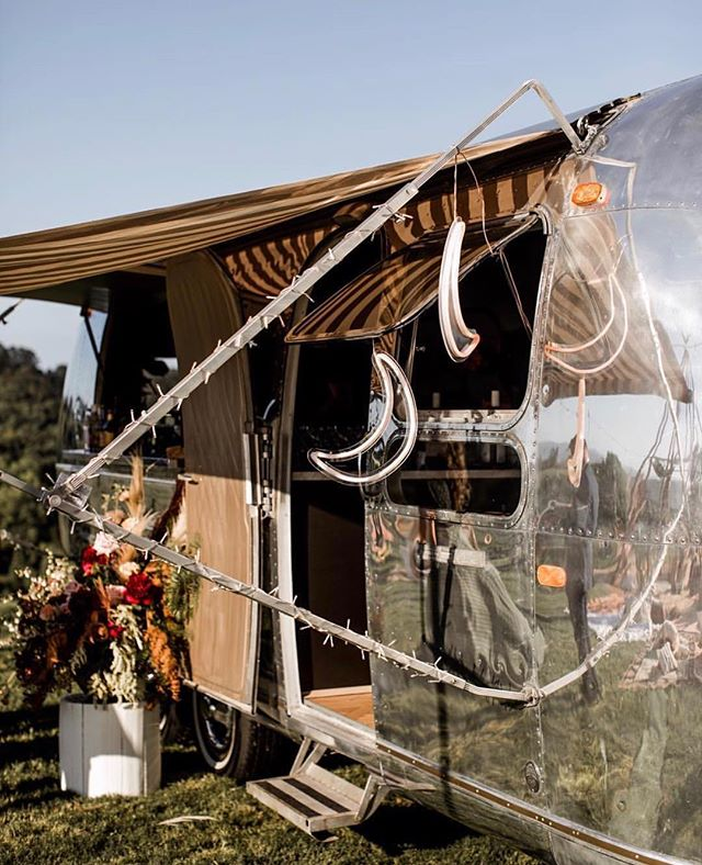Our LA LUNA neon flex signs lighting up the Airstream bar at @elsas_wholesomelife + @alexwatson's spectacular wedding recently 🌙✨💛 || Styled by @theeventslounge with @elisabettalillyred @silverliningsituations @bowerbotanicals @orchardestate.