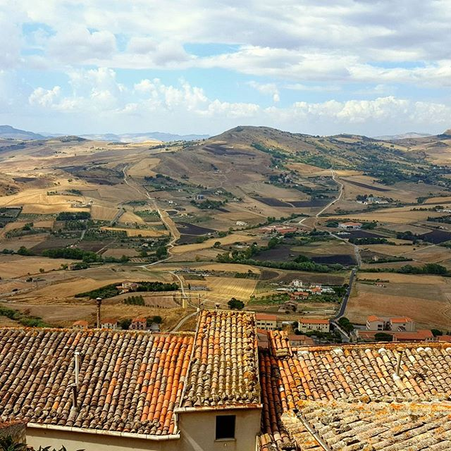 View from Gangi, Sicily. Last year you could buy a house here for €1 to try to keep the town alive.