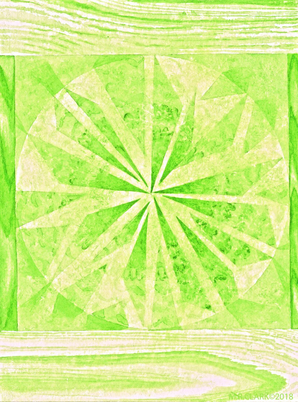 Color Project No. 11 is Permanent Green Light  This color wanted to disappear on the screen as if it was just too much to deal with. Like a fluorescent, it is quite a bright and vivid color. On my Daniel Smith tube it says it is a mix of Phthalo green PG7 and Hansa yellow PY3 so I could mix it myself really and don't need to keep a tube of it. Phthalo Green is very stable and lightfast and one of those synthetic colors that end up used in as many ways as can be imagined. Switch out that yellow for something deeper and you will get Hookers green.  Looks like I will be heading into some yellows now…