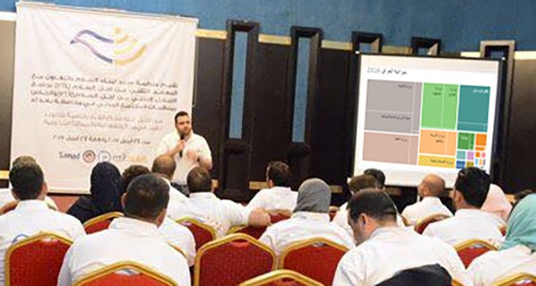 Waseem Ahmed presents an interactive visualization of Iraq's 2016 Budget at PTX Baghdad