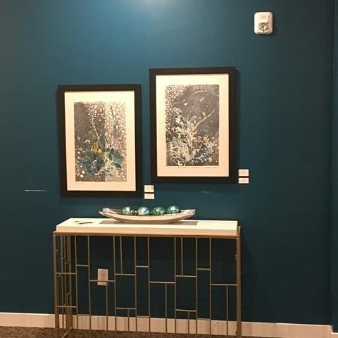 "3rd floor lobby with two 15""x 22"" Monotypes"