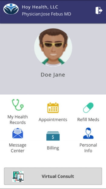 Interface of the HoyDOC app developed by Hoy Health, scheduled to deploy Q4 2018.