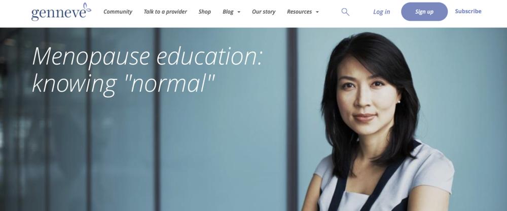 Screenshot of genneve's digital health offerings.
