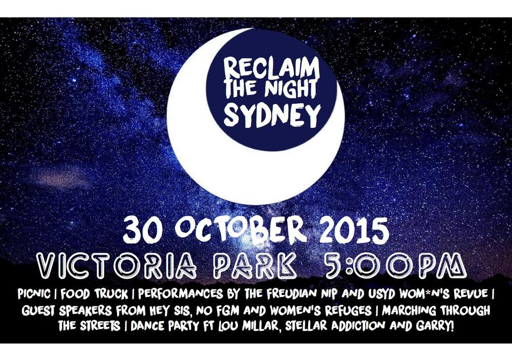 Reclaim the Night    Victoria Park, picnic from 5pm, march at 7.30pm, live music from 9pm    Join the 'Reclaim the Streets' movement in the fight for your right to party. After the success of the peaceful march throughout the CBD a few weeks ago protesting against lock out laws and the demise of Sydney nightlife, the RTS clan has organised a picnic-cum-party on Friday night at Victoria Park with live tunes and food by Cantina Movil food truck.    Moneys? Free!