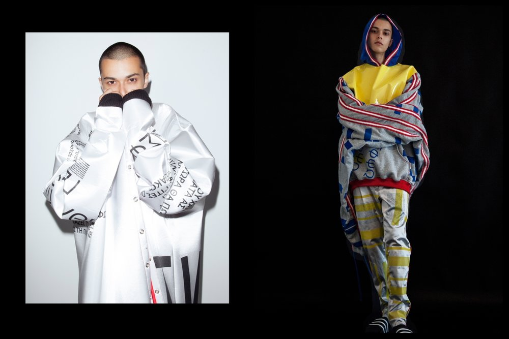 Left: Turtle neck and jacket Ysabel Cloherty, Tracksuit pants Demian renucci - Right: Full tracksuit Ysabel Cloherty, Adidas slides