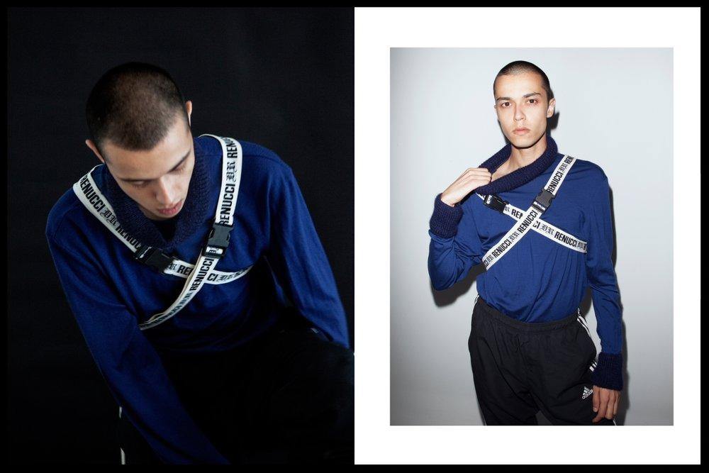 Turtle Neck Talia Jimenezz, Chest straps Demian Renucci, Tracksuit pants adidas