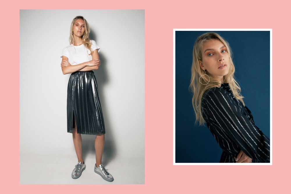Left: Rag & Bone base tee, Isabel Marant Etoile Madlen silver skirt, Woman by Common Projects silver  Achilles low sneaker - Right: Natasha Schweitzer Odette earrings, Isabel Marant Salome dress