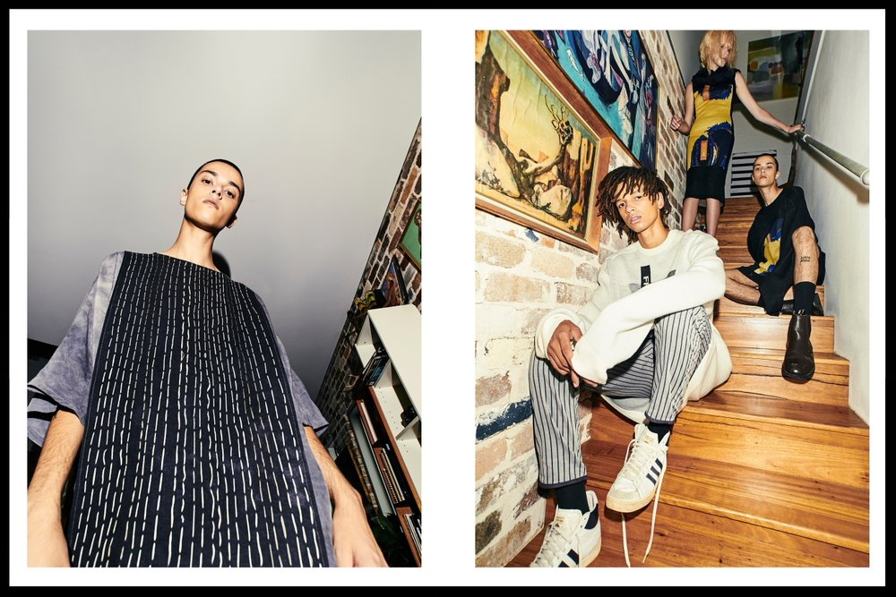 Left: Kane - Abbey Walker Designs top. Right: Gemma - Strateas Carlucci dress COS collar, Yannik - Strateas Carlucci knit Justin Cassin pants, Kane - Strateas Carlucci knit
