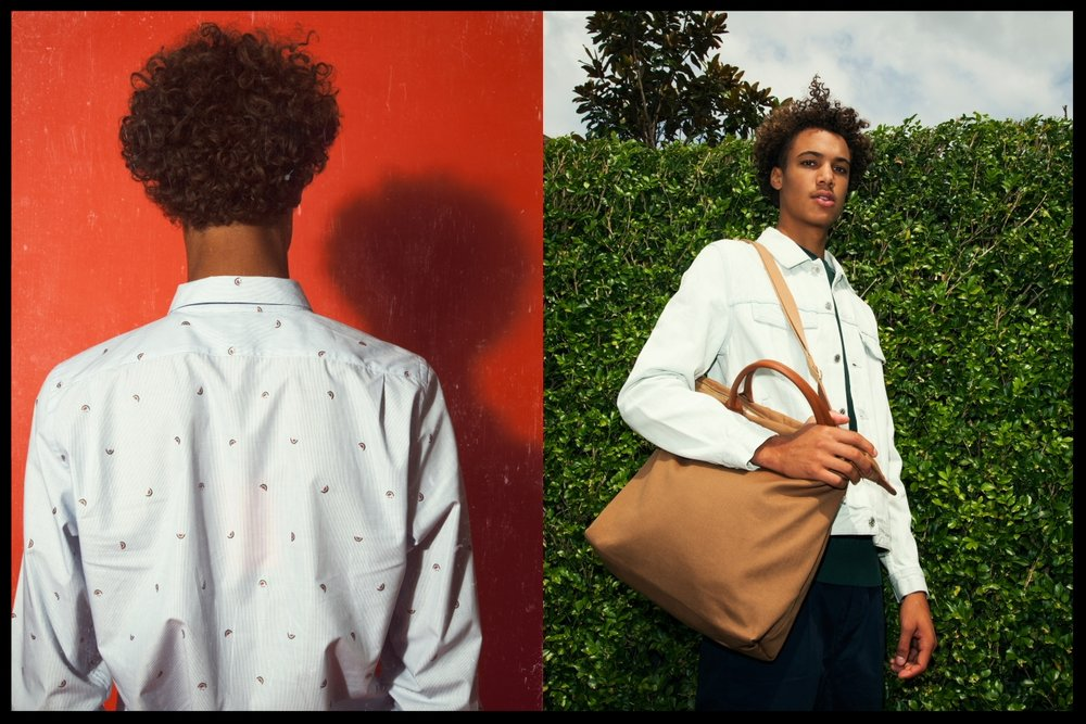 Left: Paul Smith shirt - Right: APC denim jacket, Want les Essentials tote bag, APC chinos, AMIjumper