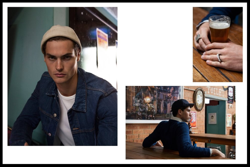 Left: Paul Smith denim jacket, Rag and Bone waffle top, Stylist's own hat, Right: Saturdays knit, APC Oxford shirt, Troy O'Shea hat, Blackdeville rings