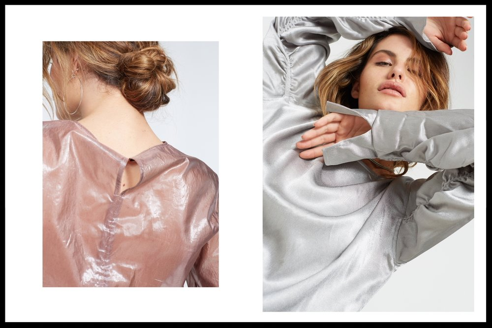 Left: Top by Life With Bird, Earring by Susan Driver - Right: Top by Zara