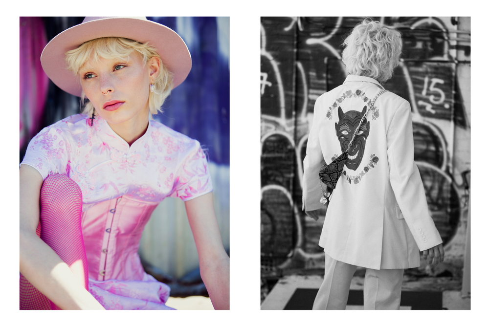 Left: Dress & Corset Vintage Courtesy of Brendan James Hay, Hat Heavy Lids, Shoes Vintage - Right: Suit Laurel & Hector, Bag Laurel & Hector, Shoes NIKE, Glasses Vintage
