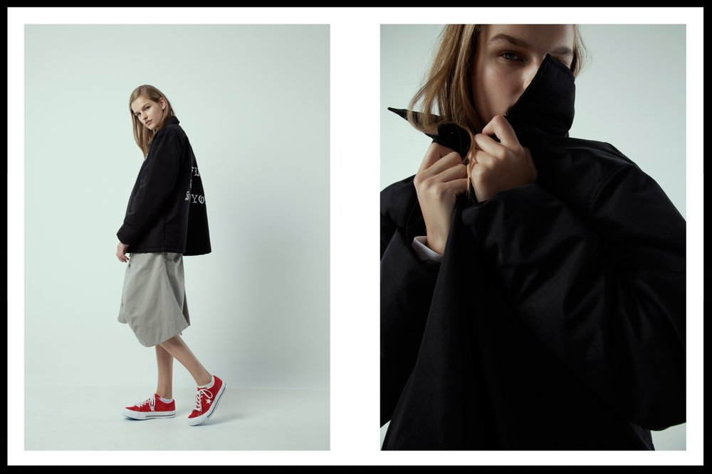 Dane Wang jacket, Bassike skirt, Converse suede low top sneakers