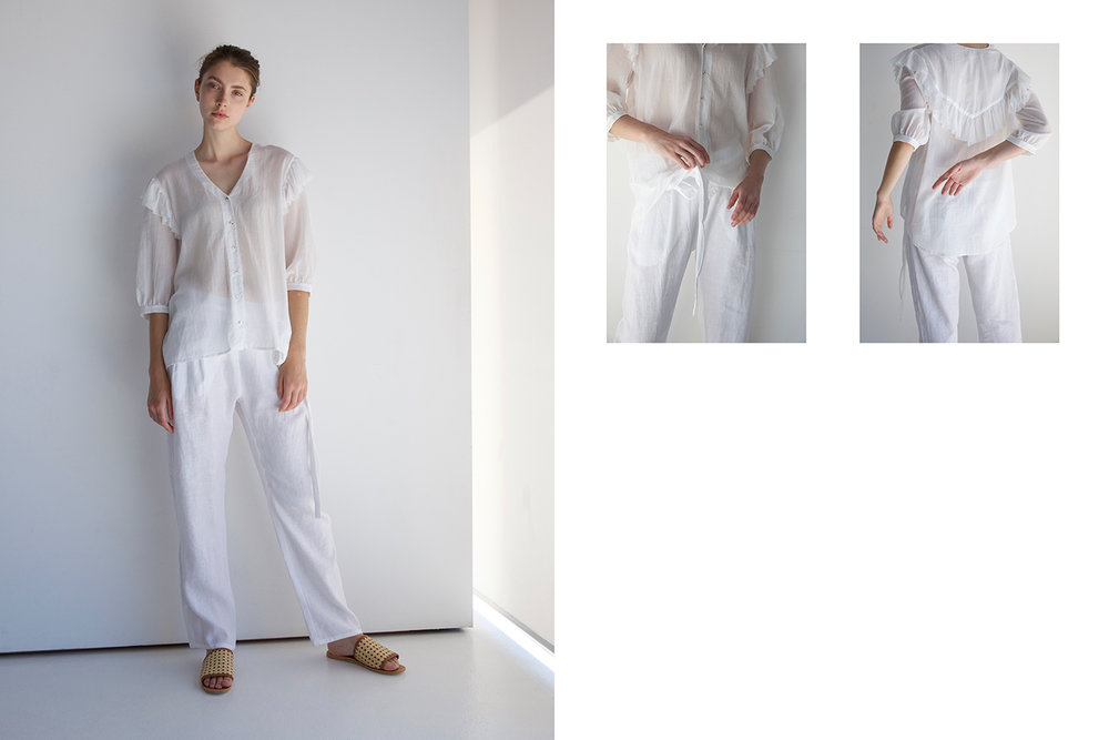 Matin shirt, Matin pants, St Agni slides