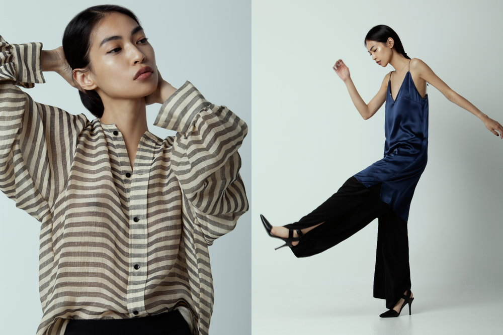Left: Bassike blouse, Bassike pants - Right: Matin Silk slip, Totême pants, Alexander Wang heels