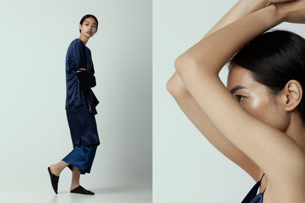 Left: Matin Silk top, T by Alexander Wang skirt - Right: Matin slip dress