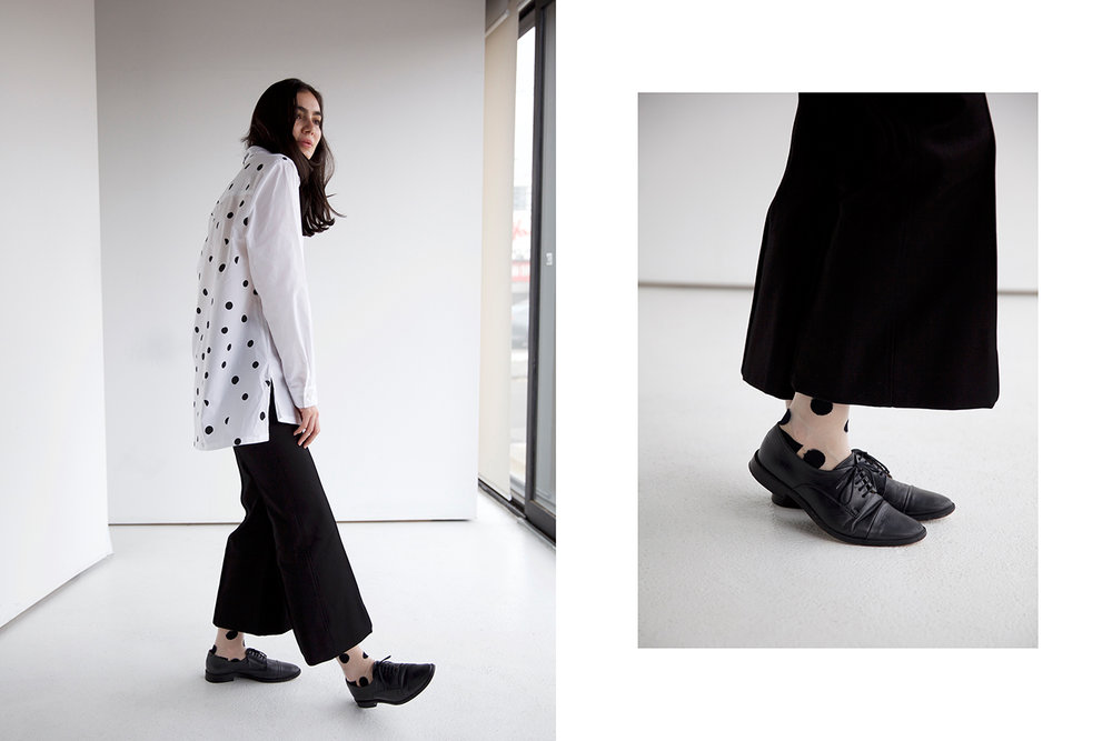 Shirt Etre Cecile, Pants Bassike, Shoes stylists own, Socks Hansen from Basel