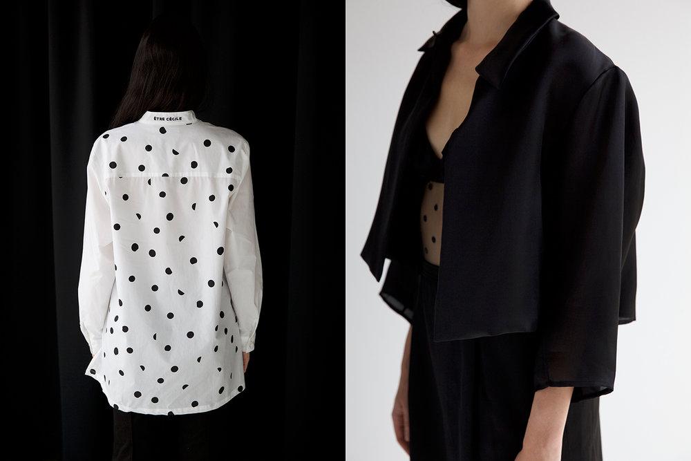 Left: Shirt Etre Cecile - Right: Jacket stylists own, Bodysuit stylists own, Skirt Yves Saint Laurent