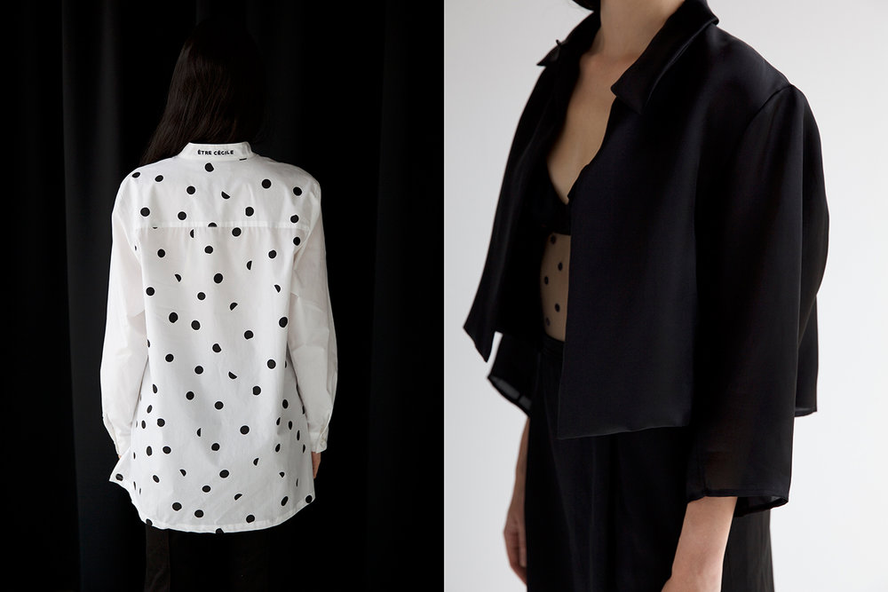 Left: Shirt Etre Cecile - Right: Jacket stylists own, Bodysuit stylists own, Skirt Yves Saint Laurent
