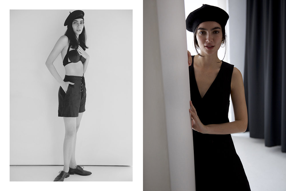 Left: Bra lascivious, Shorts dress up - Right: Dress Dress Up, Earrings Natasha Schweitzer, Shoes and beret stylists own