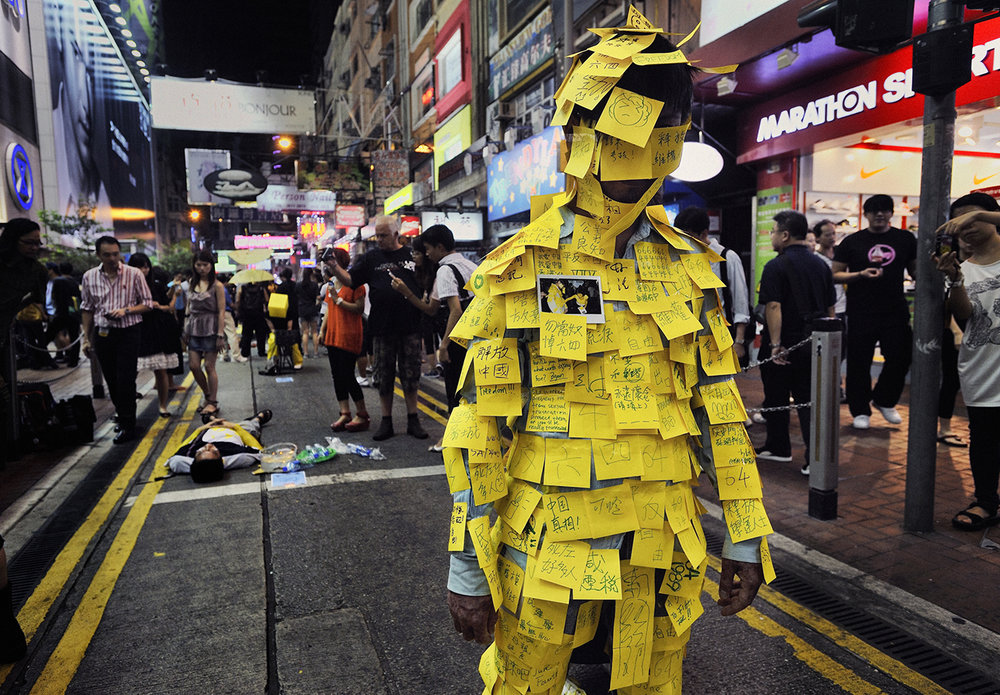 Post-it notes as protest: Photographer Mark Leong captures a Chinese government protest in Hong Kong 2011