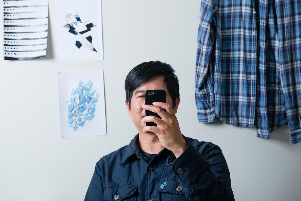Garry Trinh in his studio at Parramatta Artists Studios, 2017. Photo Alex Wisser
