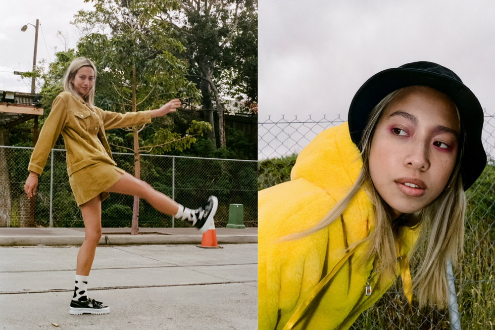 Left: BH Cord Jacket and Skirt from Glue Store, PE nation Bra from Glue Store, Happy Socks, Superga Shoes // Right: Nude Lucy Dress, Superga Shoes, Ellesse Jacket, Happy Socks