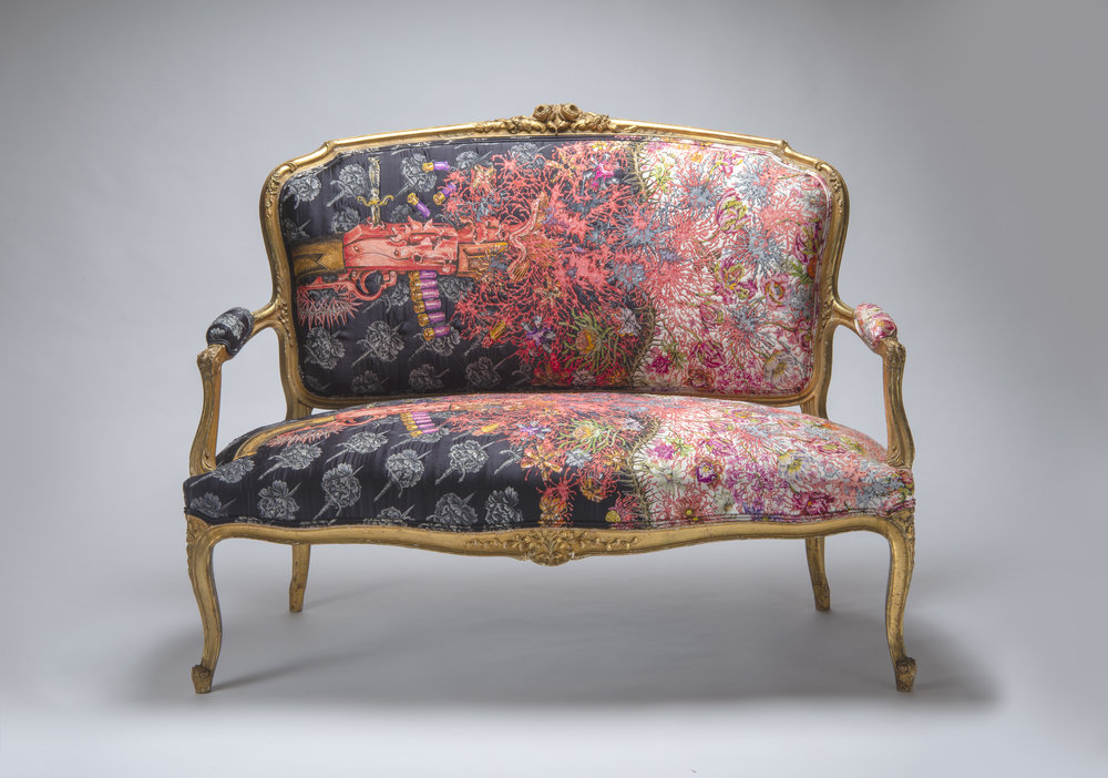 Photo by Rob Little RLDI - Ex De Medici, The Seat of Love and Hate, 2017-18, embroidered sofa