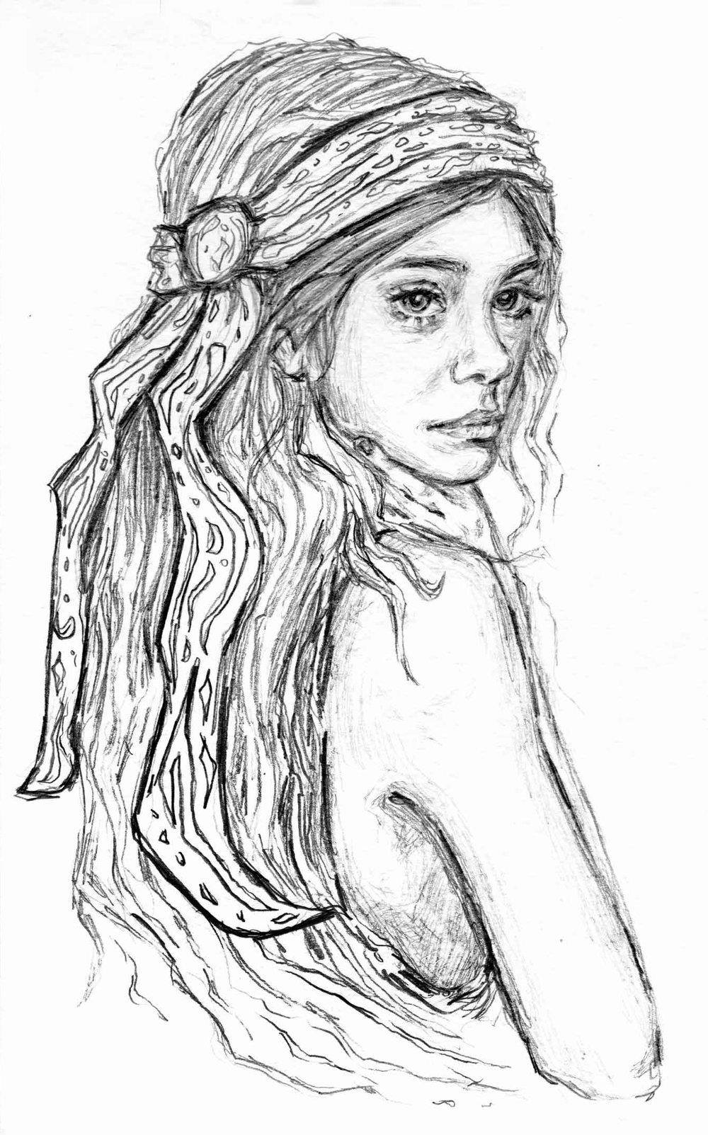 """""""GIRL WITH HEAD SCARF"""" 2017 - SKETCHBOOK STUDY"""