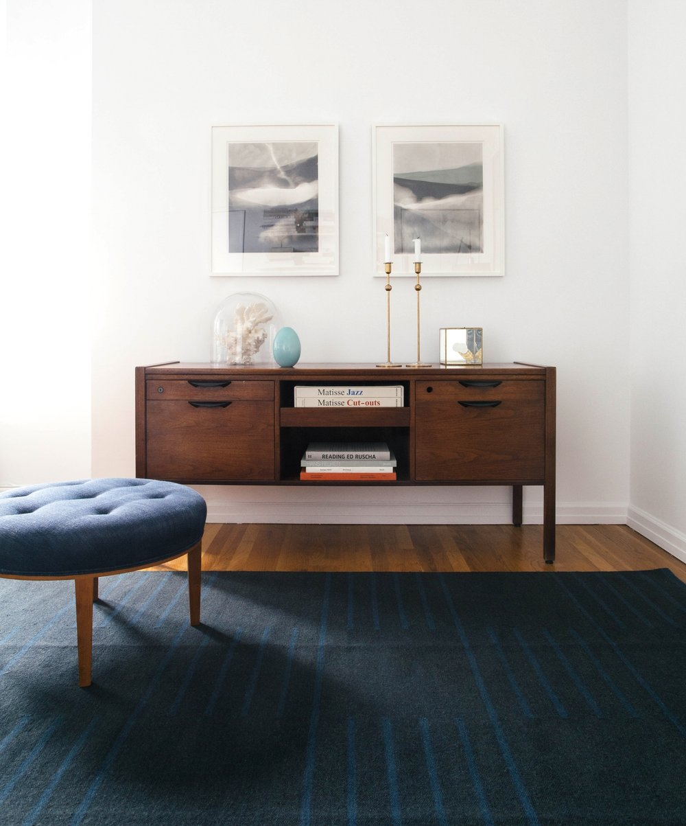 Its a great example of how our minimal classic patterns and timeless color ways are a great complement to modern furniture and contemporary art