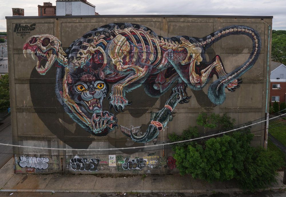 "NYCHOS ""Battlecat""   curated by INOPERAbLE for   Avenue Concept  , Providence RI, USA    Photo by Ben Jacobsen"
