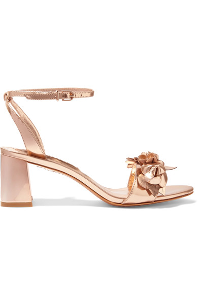 Sophia Webster: Lilco aplliqued metallic leather sandals