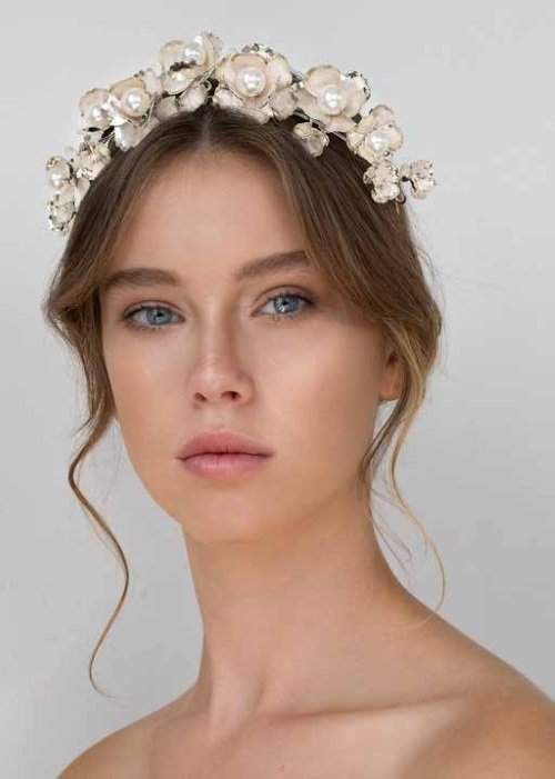 Keren Wolf's exquisite pearl and flower crown available in store