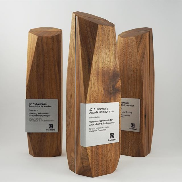 2017 Chairman's Awards for Innovation, Stockland. Check our website for further project images and specifications . Link in bio.  #artisanedawards #design #trophy #trophies #awards #sculpture #handcrafted #bespoke #event #contemporary #art #ecoawards #modern #melbourne #australia #concept #creation #materials #methods #customised #wood #timber #sustainable #renewable #reclaimedwood #aluminium #environment #corporateawards