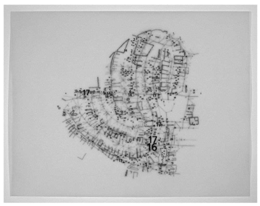 Three superimposed glicée prints of Police Calls (data collected by numerous students, map by Denis Wood), Squirrel Highways (data collected by Shaub Dunkley, Carter Crawford and Denis Wood, map by Carter Crawford), and Fences (map by Helen Waldrop).