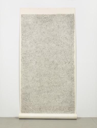 Figure 2.#9 Zena Scroll, 1973.Graphite, earth, pencil, red pencil, muslin mounted rag paper.