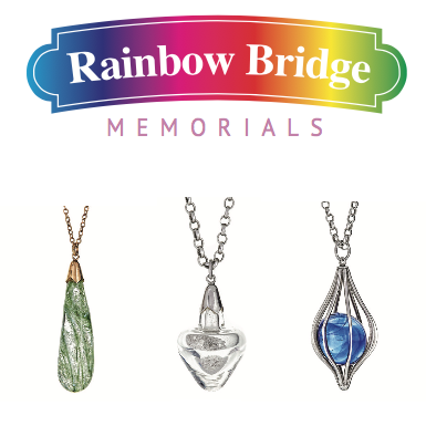 RAINBOW BRIDGE MEMORIALS Rainbow Bridge Memorials offers beautiful jewelry to help you grieve and remember a furry one lost. Using a small amount of ashes we can create bespoke glass memorial pendents.