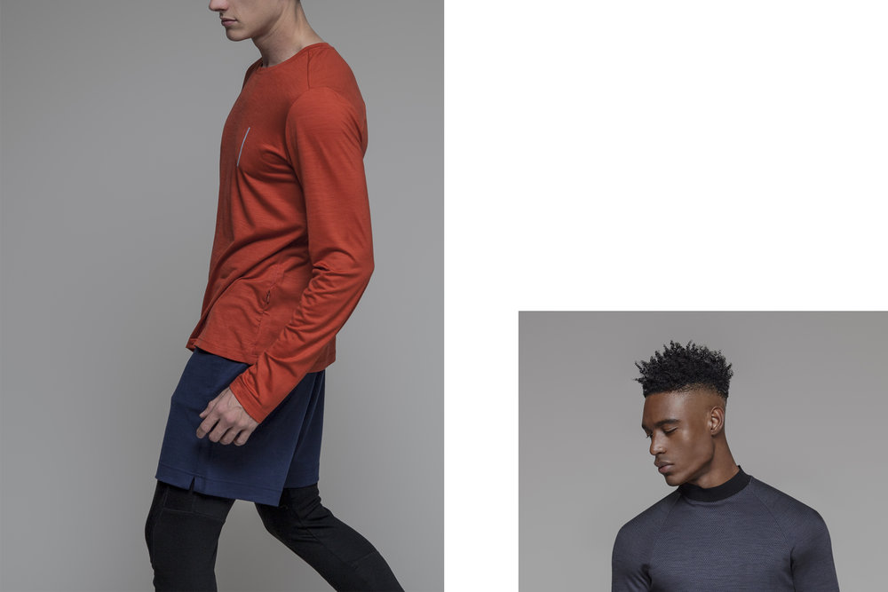LEFT / SAAS FEE CREW NECK LONG SLEEVE T-SHIRT / BRICK / SURZEE SHORTS / DARK BLUE / COIRA LEGGINGS / BLACK  RIGHT / LENZ MOCK NECK SWEATER / TEXTURED ASPHALT GREY