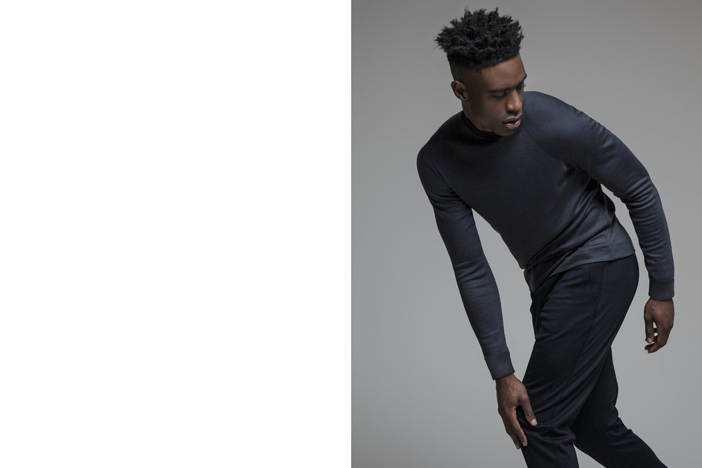 WEARING LENZ MOCK NECK SWEATER / TEXTURED ASPHALT GREY / ST MORITZ CUFFED SWEATPANTS / BLACK