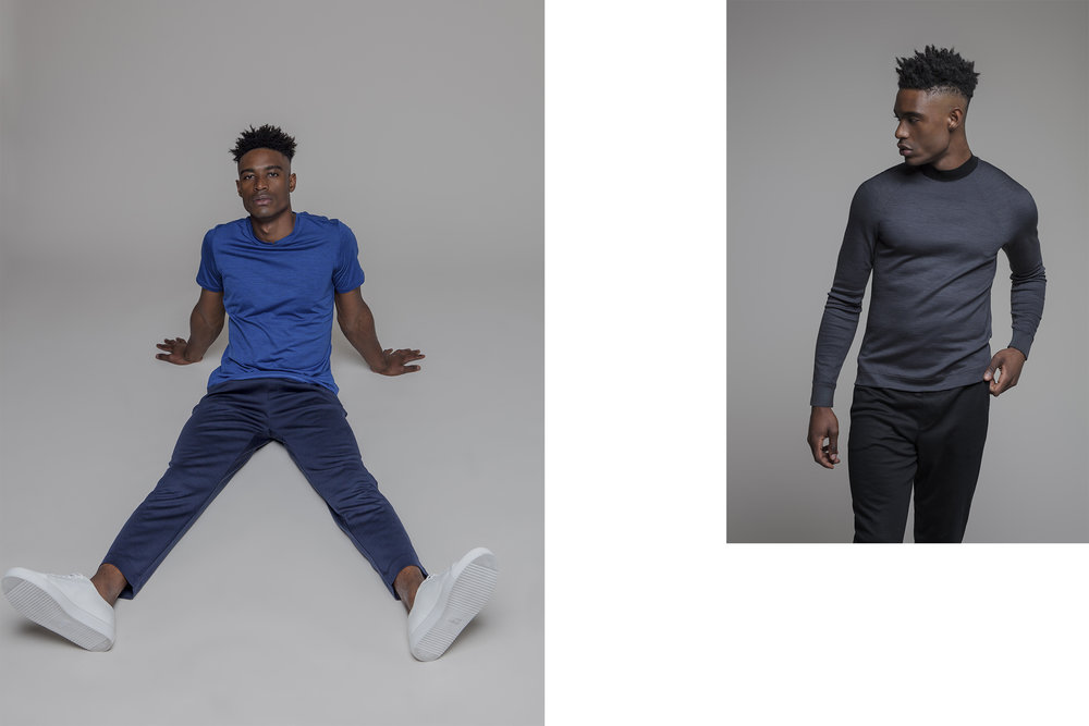 LEFT / SILS MARIA CREW NECK T-SHIRT / COBALT BLUE / ZURIGO SWEATPANTS / DARK BLUE  RIGHT / LENZ MOCK NECK SWEATER / TEXTURED ASPHALT GREY / ST MORITZ CUFFED SWEATPANTS / BLACK
