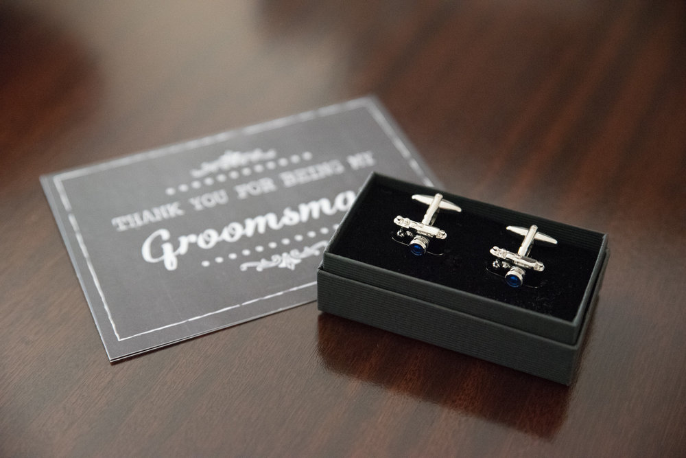 Every groomsman received individual cufflinks — these were mine!