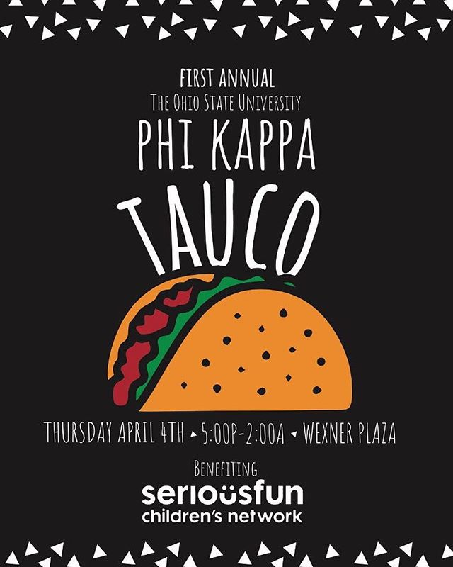 🌮🌮Announcing the first annual Phi Kappa Tauco!! 🌮🌮 Thursday April 4 from 5pm-2am, come come buy some delicious Taucos on the Wex Plaza and help support our philanthropy, SeriousFun Children's Network.