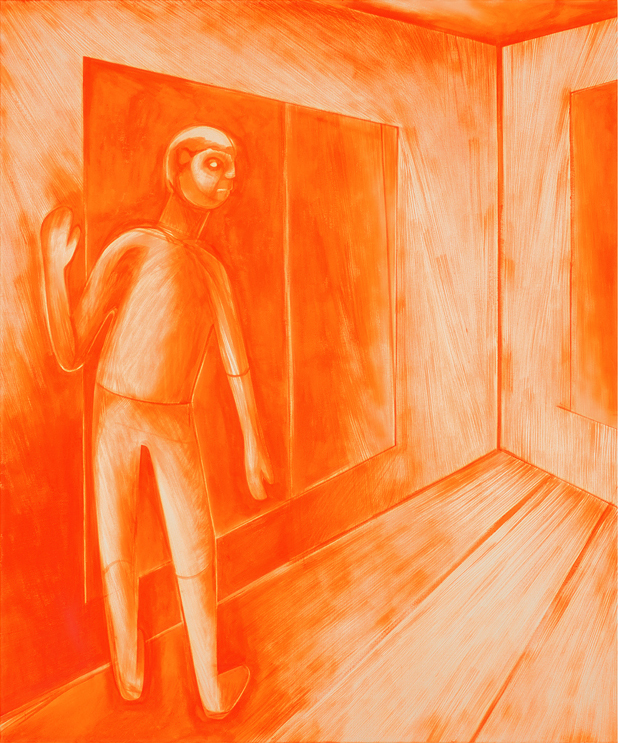 Walk, not run  , 2015, acrylic on canvas, 72x60 in