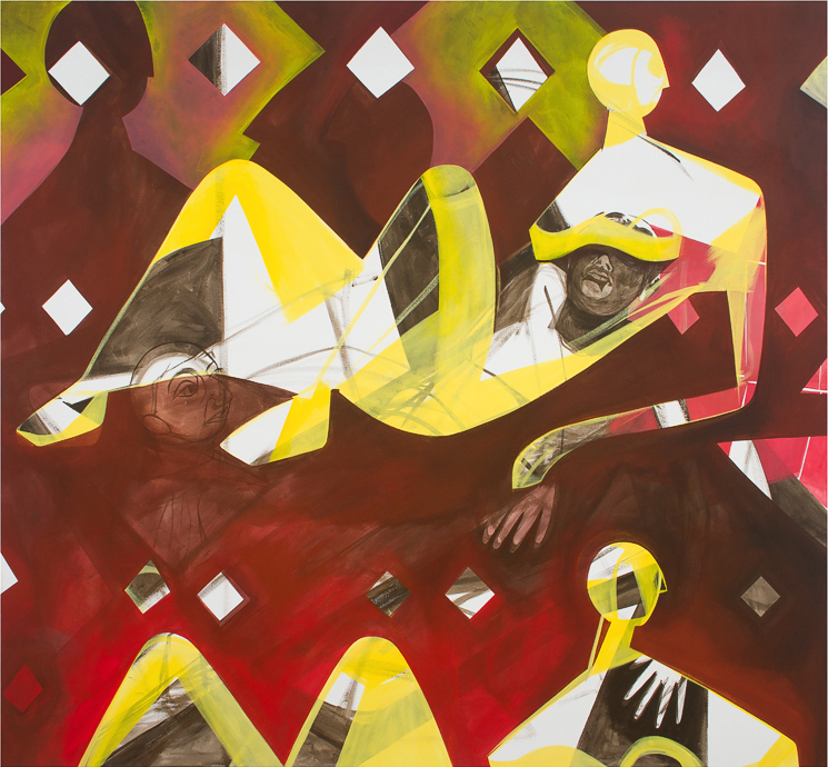 Man-to-man distance  , 2013, acrylic on canvas, 72x78 in