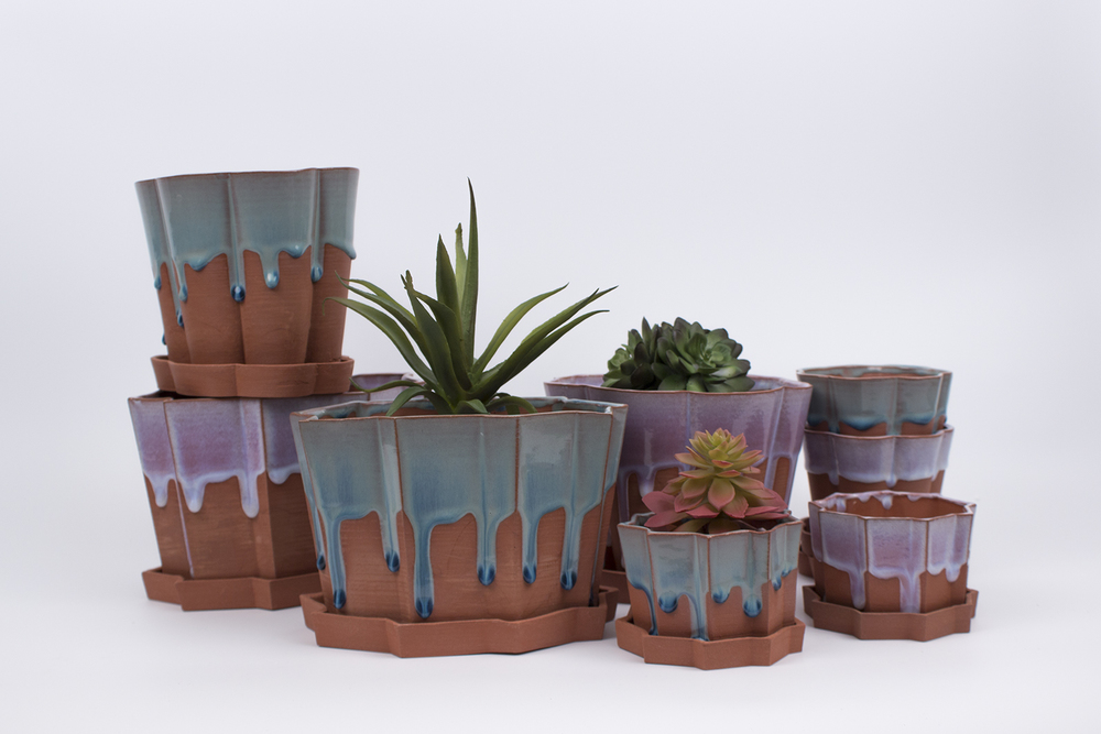 Large and Small Geometric Drip Planters