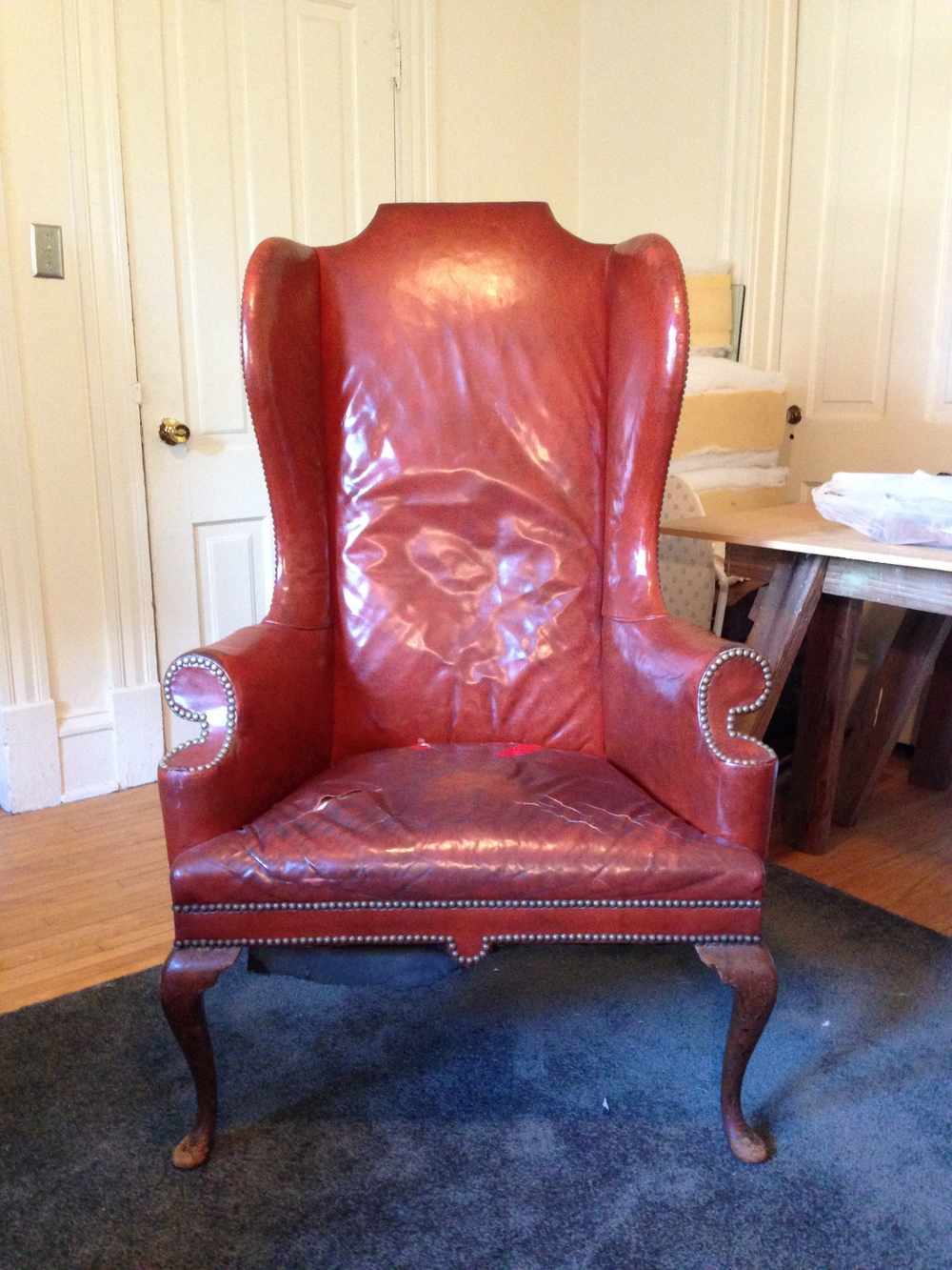 Vintage Leather Wing Back Chair Restoration