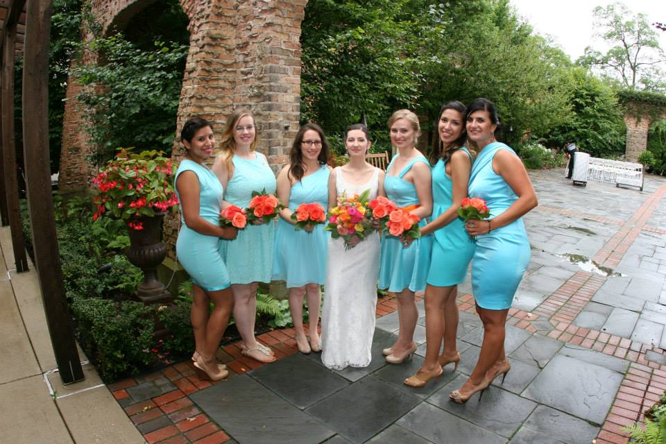 Aqua bridesmaid's dress
