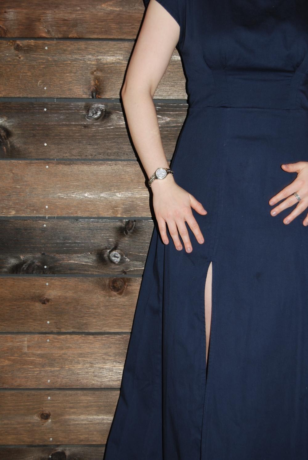 Navy blue floor length Anna dress